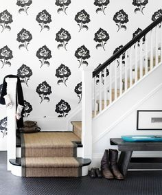 Sisal stair runner on black and white stairs Graphic Wallpaper, Of Wallpaper, Black And White Stairs, White Staircase, Staircase Walls, Staircase Runner, Black Banister, Black White, Life Design