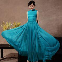 Ankle-length Silk Cheongsam / Qipao Dress