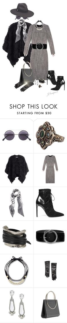 """""""Grey & Black"""" by shadedlady ❤ liked on Polyvore featuring Vera Wang, Gucci, Burberry, Yves Saint Laurent, Uno de 50, Steve Madden, Chanel, Oscar de la Renta, Wendy Stevens and Peter Grimm"""