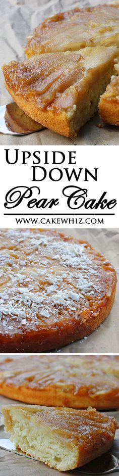 This soft and moist UPSIDE DOWN PEAR AND COCONUT CAKE is a great way to use up all those ripe pears. Top it off with some white chocolate shreds and it's a heavenly Fall/Autumn dessert! From cakewhiz.com