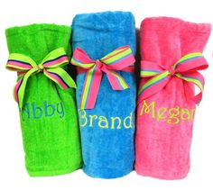 monogrammed beach towels beach towel with striped ribbon bows embroidered beach towel gifts - Monogrammed Beach Towels