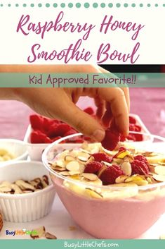 Simply the best kid approved fruit smoothie bowl for breakfast or a quick healthy snack. Easy to make, and you can pack them with protein and other healthy ingredients. #healthykids #snackideasforkids #smoothiebowl #smoothies #honey #busylittlechefs
