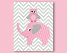 Elephant and owl, pink and grey, chevron pattern - print / poster, illustration for nursery, girl room wall decor, great baby shower present...