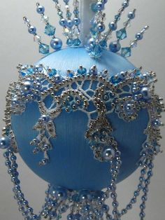 Tiara Sky - Victorian Theme - A Finished Hand Made Beaded Satin Ornament With Crystals