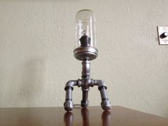 Industrial Iron Pipe Desk Lamp - Three Way Dimmer - Steampunk Chic - Snipes
