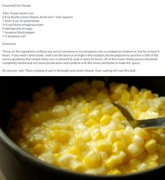 Just had this at a church covered-dish lunch……. Cream corn Just had this at a church covered-dish lunch……. Crockpot Side Dishes, Potluck Dishes, Veggie Dishes, Side Dish Recipes, Veggie Recipes, Food Dishes, Church Potluck Recipes, Slow Cooker Recipes, Crockpot Recipes
