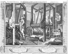 Century Etching Engraving / William Hogarth / Industry & Idleness / 1833 - Plate 1 - Fellow 'Prentices at their Looms William Hogarth, Hanoverian Kings, Engraving Printing, Historical Romance, Early American, British History, Metropolitan Museum, Family History, 18th Century