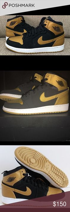 Air Jordan 1 Retro Never worn Black Metallic Gold-White Air Jordan 1 Retro High BG Jordan Shoes Sneakers