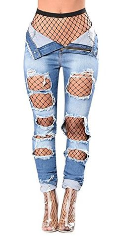 Special Offer: $15.89 amazon.com Item Specifications: 100% Brand new and high quality Material: High quality Fabric stretch denim fabric Features and Style: Ripped denim, hole, pockets, zip fly, and perfectly matched with the fishnet stockings Package Contains: 1 Pc. The fishing net stocking...