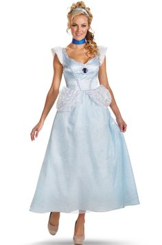 Disney Princess Cinderella Deluxe Adult Costume - Pure Costumes  sc 1 st  Pinterest & Girls Cinderella Prestige Teen Costume - White/Blue - Teen (7-9 ...