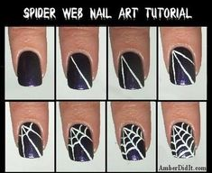 Spider Web Nail Art Tutorial for Halloween Nail Art Fancy Nails, Love Nails, How To Do Nails, Pretty Nails, Nail Art Halloween, Halloween Spider, Halloween Ideas, Halloween Design, Happy Halloween