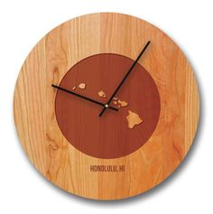 "15"" Hawaii City and State Cherry Wall Clock"