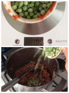Weighing and Adding the Peas