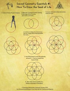 How to draw the seed of life. Sacred Geometry                                                                                                                                                                                 More
