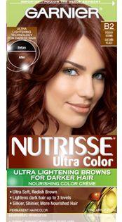 Nutrisse Ultra-Color Hair Color for Darker Hair: – Reddish Brown - Hair Styles Auburn Hair Dye, Dark Auburn Hair Color, Brown Hair Colors, Best Box Hair Dye, Dye My Hair, Black Hair Dye, Dark Hair, Garnier Hair Color, Box Dye