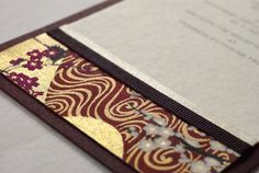 burgundy kimono design wedding invitation featuring beautiful Japanese paper.