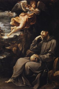 Guido Reni, Saint Francis and the angel musician (1607)