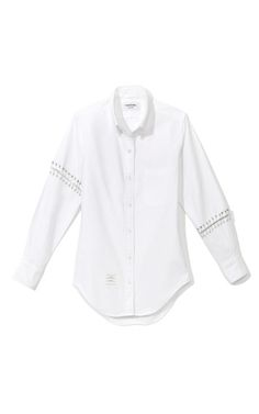 Shop Safety Pin-Embellished Cotton-Poplin Oxford Shirt by Thom Browne Now Available on Moda Operandi