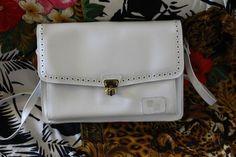 Vintage white handbag  leather shoulder women handbag punctured perforate style Vintage Bags, Vintage Shops, White Handbag, Leather Handbags, Fashion Backpack, 1970s, Satchel, Backpacks, Shoulder