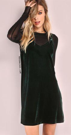 Dark Green Swing Cami Dress