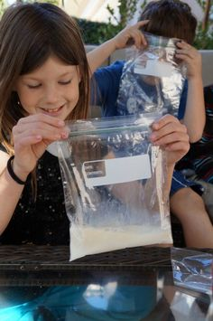 Fun for the kids! Making home made ice cream! In a small Ziplock bag, put: 1/2 C. half and half (milk works too) 1 Tbps. sugar 1 tsp. vanilla Insert that bag into a larger, one gallon Ziplock filled with ice and salt. Shake the bag for five minutes. Kids love that part! Then, remove the smaller bag which should have turned into ice cream.