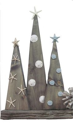Wooden Christmas Trees minus seashells. Have nick make them then decorate!