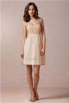 A-Line V-neck Short/mini Chiffon Bridesmaid Dress