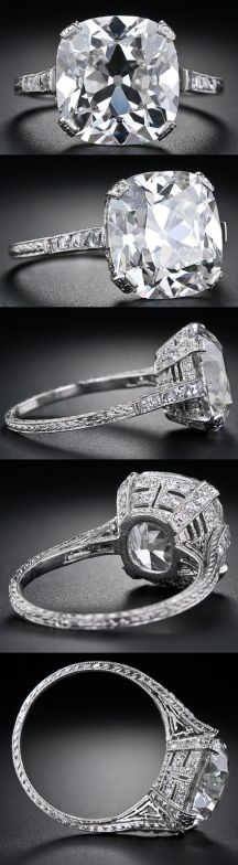 """This baby had to go under my """"wish upon a star"""" list....and none of my actual jewels lists. Its drop-dead gorgeous and a true piece of art.  Stunning!  Multi view: 6.48 carat antique cushion cut diamond ring. Via Diamonds in the Library."""