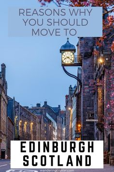 Looking at moving to Scotland? Here are 23 reasons you should move to Edinburgh. Moving to Edinburgh Scotland, pros and cons of living in Edinburgh, reasons to live in Edinburgh, expats in Scotland, moving to Scotland, wandering crystal, living abroad in Scotland, moving to Scotland from Canada, why Edinburgh is a great place to live, how to find a flat in Edinburgh, living in a city with a castle, moving to Scotland from US #Edinburgh #Scotland #Expat #LivingAbroad #wanderingcrystal Edinburgh Travel, Edinburgh Scotland, Moving To Scotland, Scotland Travel, Alberta Travel, Working Holiday Visa, Scotland Holidays, Destinations, Moving To The Uk