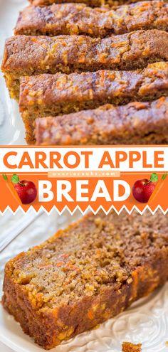Bread Maker Recipes, Yeast Bread Recipes, Quick Bread Recipes, Fun Baking Recipes, Banana Bread Recipes, Carrot Bread Recipe, Carrot Recipes, Apple Bread Recipe Healthy, Carrot Zucchini Bread