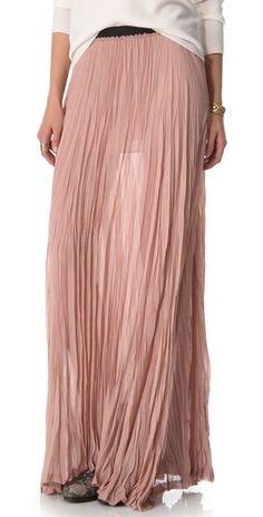 Pink chiffon pleated maxi skirt