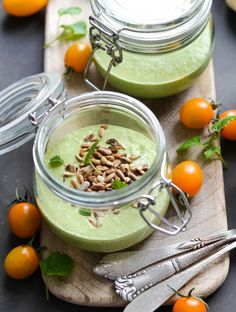 Cold Avocado & Cucumber Soup with Sunflower Seed Topping via A Tasty Love Story #recipe