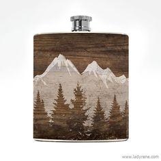 Berg Landschaft Whiskey Flasche Natur Feldflasche Camping im freien Klettern Wanderlust Edelstahl Abenteuerurlaub Stocking Stuffer