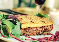 Our delicious Vegan Moussaka. Just one of the dishes on our home-dining menu.