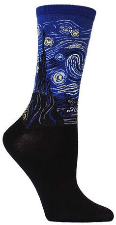 "Crew length socks featuring the famous painting by Vincent Van Gogh, ""Starry Night"" in blue."