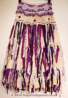Millie Romantically Beautiful Ragged and Tattered Gypsy Skirt in Purples, Mauves, Lavenders and Antique Style Tea-dyed fabrics.