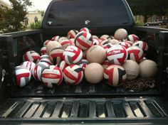 "Question: ""How many Super Touches can you fit in a truck?""    Answer: ""Never enough!""    Thanks @fredvolleyball for sharing this great photo! Find Molten USA on twitter @moltenusa : )"