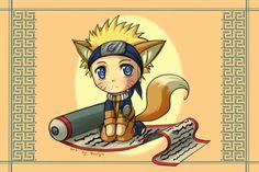 A gift for a friend who is fan of Naruto. Chibi Naruto with fox ears and tail. Chibi, Sasunaru, Naruto Uzumaki, Seventh Hokage, Naruto Images, Kawaii, Blue Exorcist, Anime, Princess Zelda