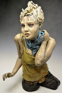 Kelly Stevenson, Artist,  Self Portrait,   Stoneware, Stain, Acrylic, Gold Leaf  2'3'' x 1'6'' x 3'2'