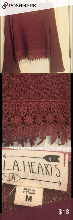 L.A. Hearts Cropped Lightweight Sweater Sz M L.A. Hearts lightweight cropped sweater.  Lace detailing at bottom hem.  Slight bell sleeves.  Perfect condition. Burgundy color. Size M LA Hearts Tops