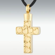 Hearted Cross Stainless Steel Cremation Jewelry