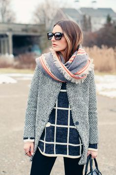 GRID PRINT SWEATER AND HOUNDSTOOTH COAT + blanket scarf