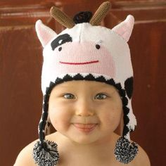 Zubel Cow Hat. Fun cow toboggan for infants. See More Hats at http://www.ourgreatshop.com/Hats-C198.aspx