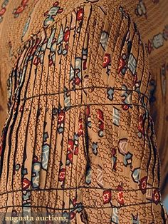 """sleeve detail - pleating at cap - 1838 printed cotton day dress, front opening, banded down sleeves, bodice lined in muslin; bust: 32""""; waist: 24""""; length: 52""""; hem circumference: 104"""""""