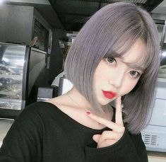 May this pin was discovered by ♥︎✨🌙м σ σ и ℓ ι g н т🌙✨♥︎. Korean Girl Photo, Cute Korean Girl, Asian Girl, Korean Hair Color, Korean Short Hair, Girl With Purple Hair, Girl Short Hair, Ulzzang Hair, Ulzzang Korean Girl