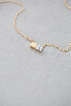 Gold & White Marble Plate Necklace