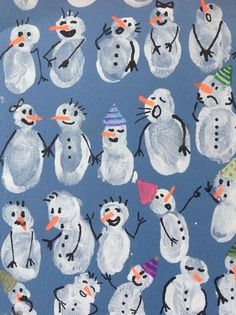 Snowman fingerprint art- cute wintertime craft with kids Christmas Crafts For Kids, Winter Christmas, Kids Christmas, Holiday Crafts, Christmas Activities, Christmas Decor, Christmas Snowman, Winter Art, Winter Time