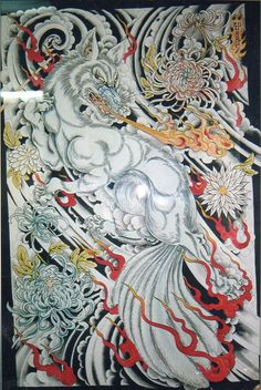 japanese fox tattoo | Really cool 9 tailed fox by Ed Hardy.
