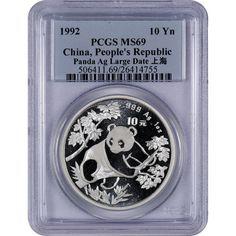 1992 Large Date China Panda 1 oz. Pure Silver 10 Yuan PCGS MS69
