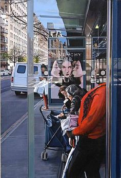 Artist Richard Estes biography, exhibitions, art for sale, latest news and work. Buy Richard Estes original artwork and paintings at Marlborough Gallery. Illinois, Hyper Realistic Paintings, Academic Art, Principles Of Design, A Level Art, Gcse Art, Bus Stop, Urban Life, Elements Of Art